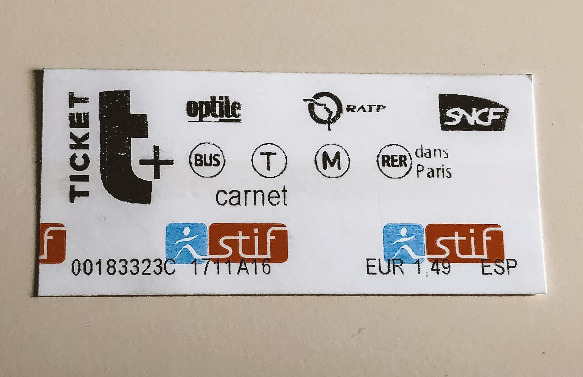 Ticket sencillo del metro